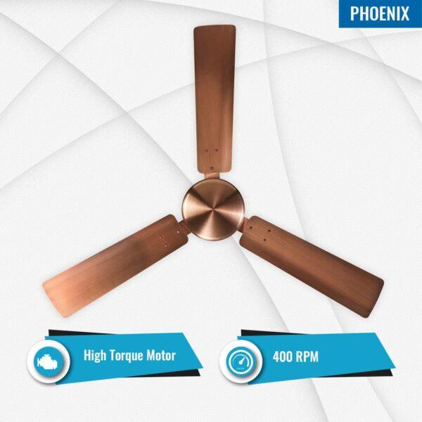 Phoenix Antique Copper Ceiling Fan - Features