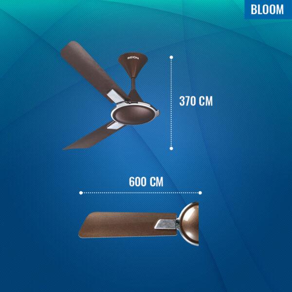 Seion Bloom Wide Blade Ceiling Fan - Dimensions