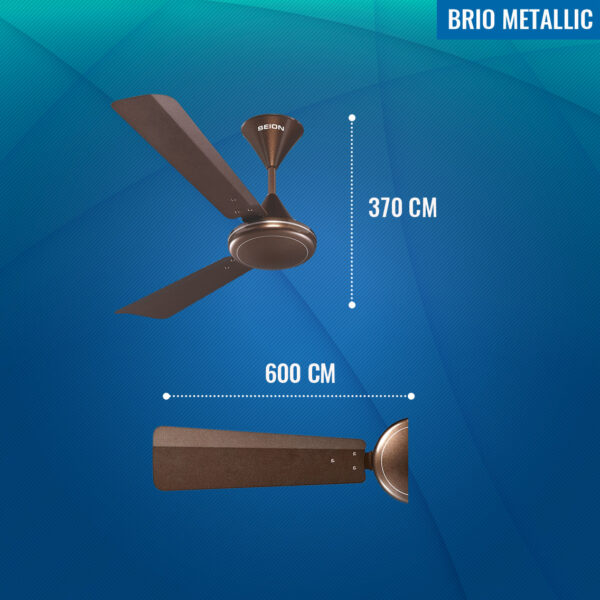 Seion Brio Metallic Ceiling Fan - Dimensions